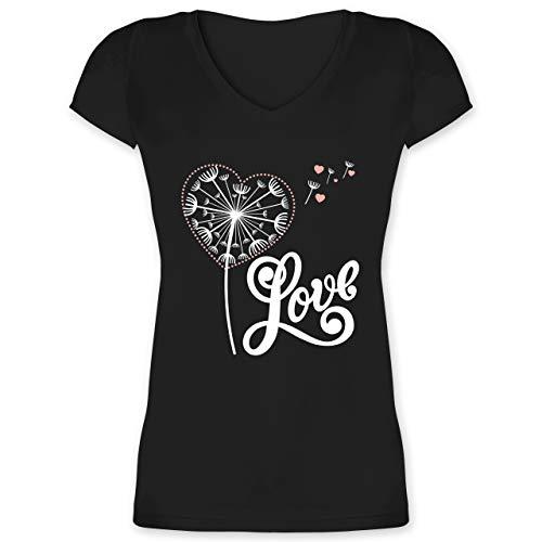 Blumen & Pflanzen - Pusteblume - Love - weiß - XS - Schwarz - Liebe - XO1525 - Damen T-Shirt mit V-Ausschnitt