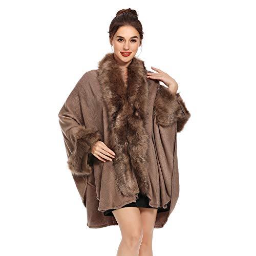 ZLYC Damen Winter Kunstpelz Poncho Cape Warm Umhang Faux Fur Kragen Mäntel Strickjacke