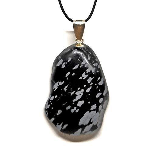 "Collar Colgante Unisex ""Sirio"" Del mineral Obsidiana Copo de Nieve"