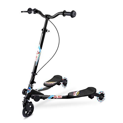 AODI Y Flicker Scooter for Kids, 3 Wheels Swing Scooters Foldable Tri...