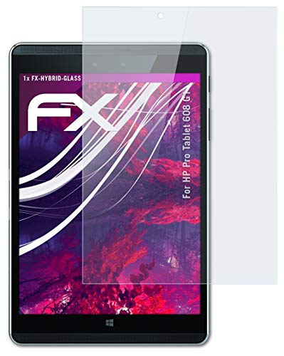 atFolix Glasfolie kompatibel mit HP Pro Tablet 608 G1 Panzerfolie, 9H Hybrid-Glass FX Schutzpanzer Folie