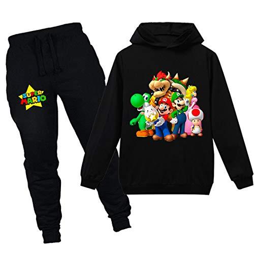 Super Mario Hoodie Cartoon Spiel Baby Mädchen Jungen Freizeit Kleidung Sets Kinder Sweatshirt Nachtwäsche Schlafanzug Kleidung 2-12Y Gr. 7-8 Jahre, schwarz 2