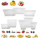 8 Pack bolsa de alimentos reutilizable de silicona, sin BPA, a prueba de fugas,...