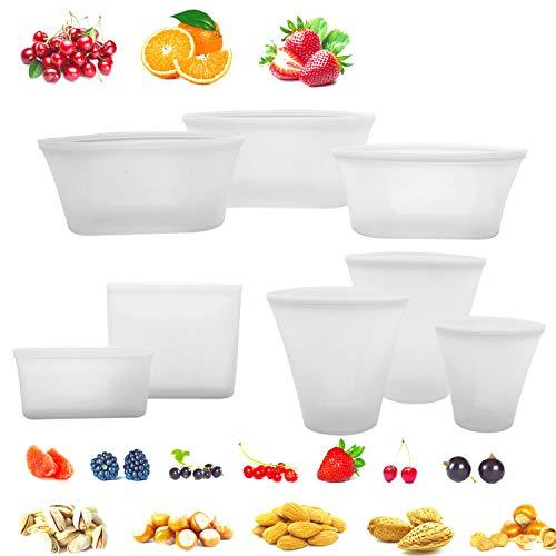 8 Pack bolsa de alimentos reutilizable de silicona, sin BPA, a prueba de fugas, para frutas, refrigerios, verduras, microondas, lavavajillas y congelador, chanclas de color blanco con cuentas falsas