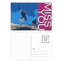 青い背景のグロテスクなイラスト・漫画 ポストカードセットサンクスカード郵送側20個ミス