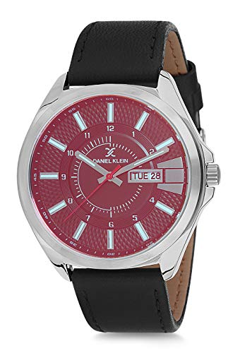 Daniel Klein Reloj de pulsera para hombre (DK12172) – Correa de cuero – 45 mm analógico relojes de moda para hombre – Movimiento de cuarzo japonés – Cristal azul – Muchos colores