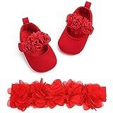 Zapatos de Bebé Niñas y Diadema Set de Regalo de Bautismo 2 Piezas, 0-18mese...