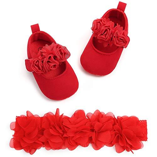 Zapatos de Bebé Niñas y Diadema Set de Regalo de Bautismo 2...