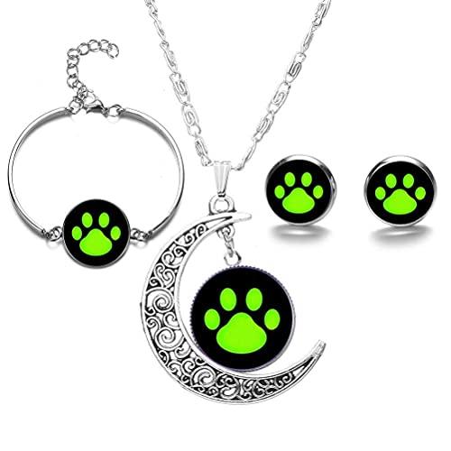 WINBST Juego de 4 collares de gato Noir, para cosplay, anime, luna, collar, pendientes, pulsera, mariquita, gato negro, verde, impresión de la pata, regalo bonito