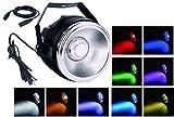 TOM - Foco de luz LED RGBW COB de 45W con un reflector de aluminio brillante y lente y protocolo DMX512 de 7 canales para iluminación de bodas, fiestas y teatros