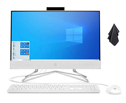 2021 Newest HP 22-inch FHD Non-Touch All-in-One Desktop Computer, AMD Athlon Silver 3050U Processor 2.3 GHz, 8 GB RAM, 256 GB SSD, Pop-up Webcam, WiFi, DVD, Windows 10 Home + Oydisen Cloth