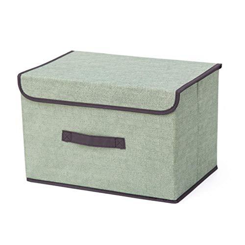 UKKO Caja para maquillaje, caja de almacenamiento de algodón con tapa, 25 x 19 x 16 cm, ideal para guardar ropa, aperitivos, juguetes, manzanas, Oraganier, Verde (Verde) - 6990642619323