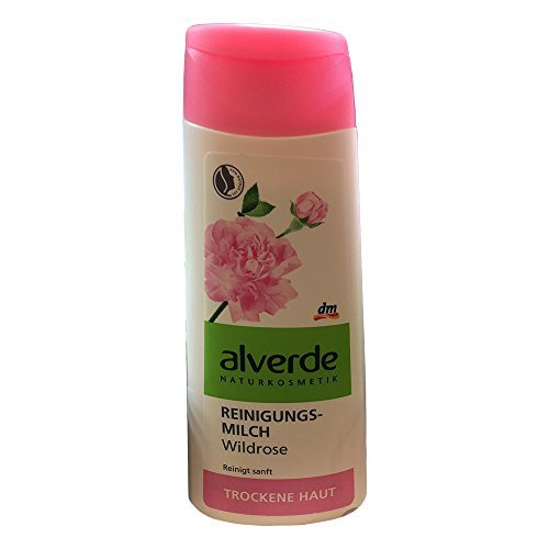 Wild Rose Cleansing Face-Milk for Dry & Sensitive Skin - with Ingredients from Organic Farming - Not Tested on Animals / Natrue Certified - 200ml by Alverde Natural Cosmetic