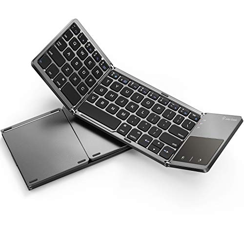 Foldable Bluetooth Keyboard for Mac OS/iOS - Jelly Comb Wireless Portable Rechargeable Slim Pocket Folding Keyboard with Touchpad for Cellphone Tablet & PC Laptop