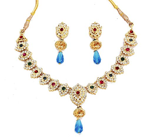 Touchstone de la India de Bollywood Tradicional Tachonado Mirada del Diamante Artificial de imitación de la joyería del diseñador Turmoline Gotas En Collar de Oro Antiguo del Tono para Las Mujeres.