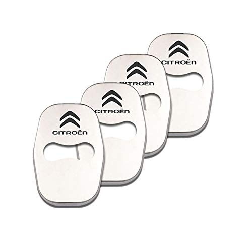 para Citroen Logo C5 C6 C4L C3XR C4 C-Quatre Elysee Picasso Chrome Auto Door Lock Cover Protection Emblem Sticker Decoración 4pcs Molduras (Color : Plata)