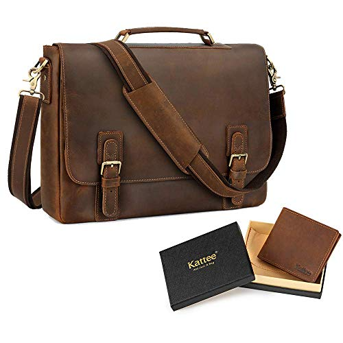 Kattee Men's Leather Satchel Briefcase15.6