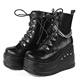VOMIRA Women's Platform Boots Lace Up Ankle Boots Punk Gothic Boots Chain Studded Knight...