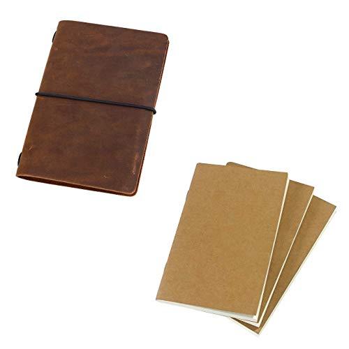 Pocket Travelers Notebook and Refills Bundle, 3.5'x5.5', Brown