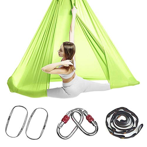 ZHJIUXING SF Aerial Yoga Hammock Ultra Strong Antigravity Hammock Sling Inversion Tool For Improved Yoga Inversions Flexibility,Relaxing Chair, Grass Green