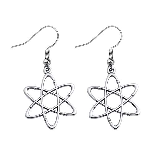 Atom Science Symbol Earrings Chemistry Scientist Physicist Chemist Teacher Gift Science Lovers Jewelry Gifts (silver)