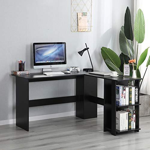 soges Escritorio en Forma de L Escritorio de Esquina Grande Escritorio de computadora Mesa de Oficina estación de Trabajo informática Mesa de Juego para Oficina en casa, S1-XTD-SC01-BK