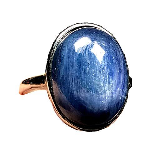 Anillo de cristal de cianita de 14 mm, parte superior de piedra de cianita azul natural para mujer hombre cuentas ojo de gato plata anillo ajustable joyería AAAAA