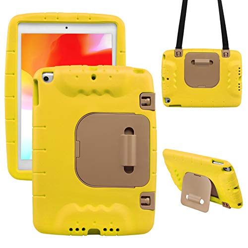 NEWSTYLE Case for iPad 10.2 Inch 2020 2019 (7th 8th Generation) / iPad Pro 10.5/ iPad Air 3, Durable Protective Case Kids Sturdy Built-in Stand Cover with Shoulder Strap for iPad 10.2 (Yellow)