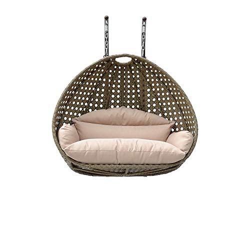 ISLAND GALE Elegant Design Double SEAT Wicker Swing Chair DIY Suit Your OWN Hanging Convenience. (Latte/Cream) Base and Poles are Not Included.