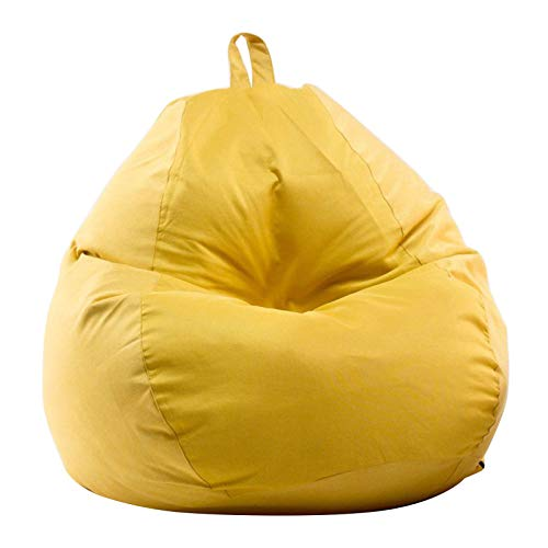 Stuffed Storage Bird's Nest Bean Bag Chair Cover (No Filler) for Kids and Adults | Stuffable Zipper Beanbag for Organizing Children Plush Toys (Yellow, 27.5' X 31.5')