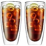 【morningplace】 ダブルウォール グラス タンブラー 二重構造 耐熱 カップ (600ml 2個セット)