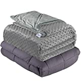 Quility Weighted Blanket for Adults - Queen Size, 60'x80', 15 lbs - Heavy Heating Blankets for Restlessness - Grey, Grey Cover