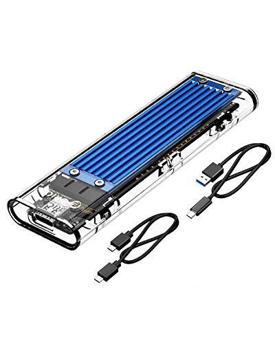 ORICO M.2 NVME SSD Gehäuse, PCIe auf USB C Adapter, USB 3.1 Gen2 (10Gbit/s) Externes Festplattengehäuse für PCIe M-Key Alle Größen Solid State Drive, Intelligente Schlaffunktion (Blau)