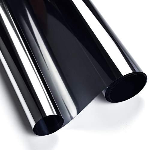 Concus-T Einwegspiegelfolie, Sichtschutz, Fensterfolie, getönt, reflektierender Effekt, Glasfolie, Wärmedämmung, statische Haftung, Glasaufkleber, selbstklebend, UV-Schutz, Sonnenschutz, 60 x 400 cm