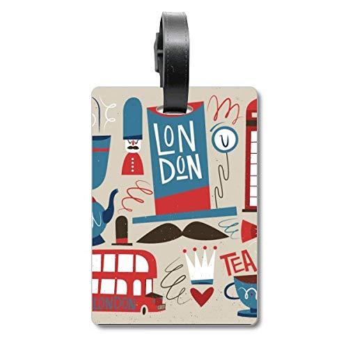 Big Ben - Etiqueta de identificación para Maleta de autobús británico con Bandera de Inglaterra