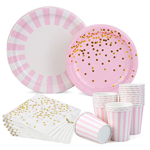 Plates and Napkins Set For Girlss Birthday Baby Shower, Service 24 Guests 104Pcs Halema Pink and Gold Party Tablewere Set - Plates, Dessert Plate, Cups and Napkins, Dinnerware Set For Birthday Party