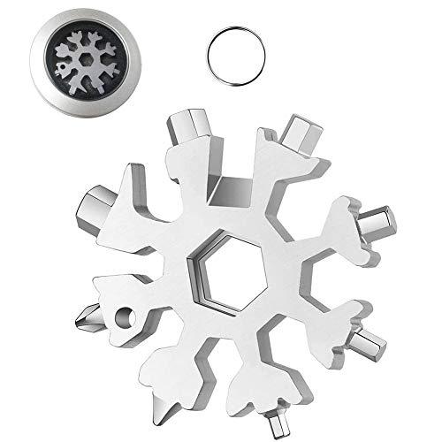 18 en 1 Multi Herramienta Copo de Nieve Snowflake Destornillador Multi Tool Herramienta de acero Llavero Abrebotellas Tarjeta (Plata)