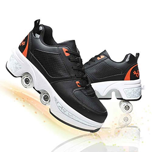 Fbestxie Deformación Patines De Ruedas Ajustable Cuatro Ruedas Polea Zapatos para Niños Invisibles De Doble Fila Automático Telescópico Patines,Black Orange,41