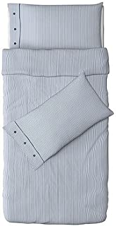 IKEA Nyponros Duvet Cover and Pillowcase, White/Blue, Full/Queen (Double/Queen)