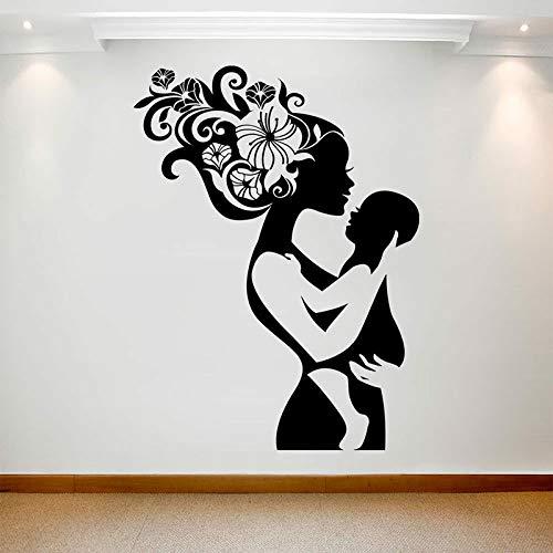 Wandaufkleber Mutter und Baby Vinyl Mutter Liebe Make-up Frauen Blumen Haar Schlafzimmer Krankenhaus Dekoration Kinderzimmer Kunst entfernbare Wandtapete