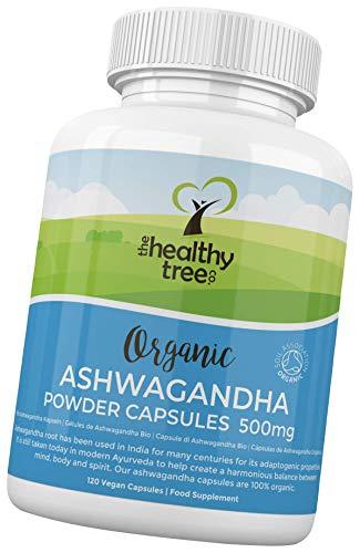 Bio Ashwagandha Kapseln von TheHealthyTree Company - Vegan, 100% natürlich, ayurvedisches, adaptives Heilkraut für Geist, Körper und Seele - 120 x 500mg Ashwagandha Wurzel Tabletten