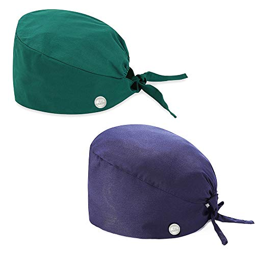 NDLBS 2Pcs Upgrade Working Cap with Buttons, Sweatband Adjustable Tie Back Hats Printed for Women Men