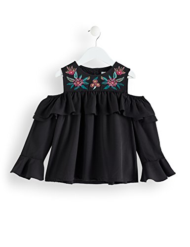 Amazon-Marke: RED WAGON Mädchen Cold Shoulder-Bluse mit Stickereien, Schwarz (Black), 116, Label:6 Years