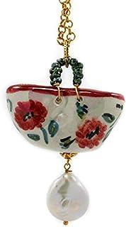 Ciondolo donna coffa papavero con perla in rosso verde e bianco. Collana donna.Gioielli in ceramica dipinta a mano. Made i...