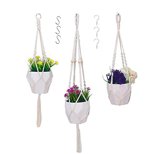 Sooair 3-częściowy zestaw wiszących doniczek na rośliny, makrama, kwietnik z bawełnianą linką, frędzle wiszące, wisząca doniczka na kwiaty, biała (90 cm)