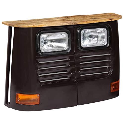 UnfadeMemory Aparador Comedor en Forma de Camión,Aparador para Salon,Decoración de Hogarcon,Estilo Rústico y Industrial,Madera Maciza de Mango,108x30x72cm (Gris Oscuro)