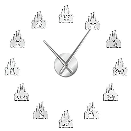xinxin Reloj de Pared Princesa Castillo Espejo Etiqueta de Superficie DIY Reloj de Pared Habitación de niñas Estilo de Dibujos Animados Reloj de Pared Hada Acrílico Reloj de Arte de Pared Reloj