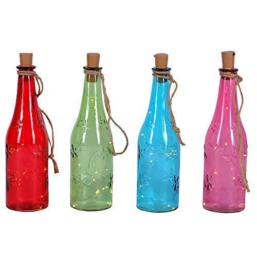 4er Set Weinflaschen mit LED   LED-Lichterkette in Weinflasche   Beleuchtete Flaschen   Dekoration   Dekorative Beleuchtung   Lichterkette   Glas bunt