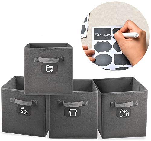 MCleanPin 4er-Pack Verdickte Aufbewahrungsbox Aufbewahrungskörbe, Robust und Faltbar, mit Griffen, 28x28x28cm vollkommen für die Meisten Schrank, Regal im Büro und Haus (Dunkelgrau)