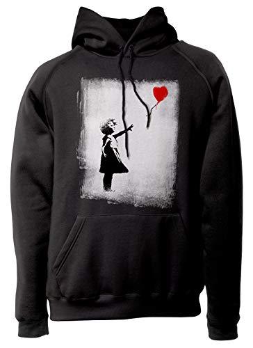 LaMAGLIERIA Unisex-Hoodie Banksy - Balloon Girl Kapuzenpullover, M, Schwarz